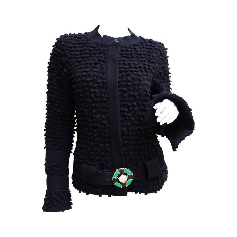 Amazing Chanel Black Wool Popcorn Tweed Gripoix Belt Jacket Size 40 1