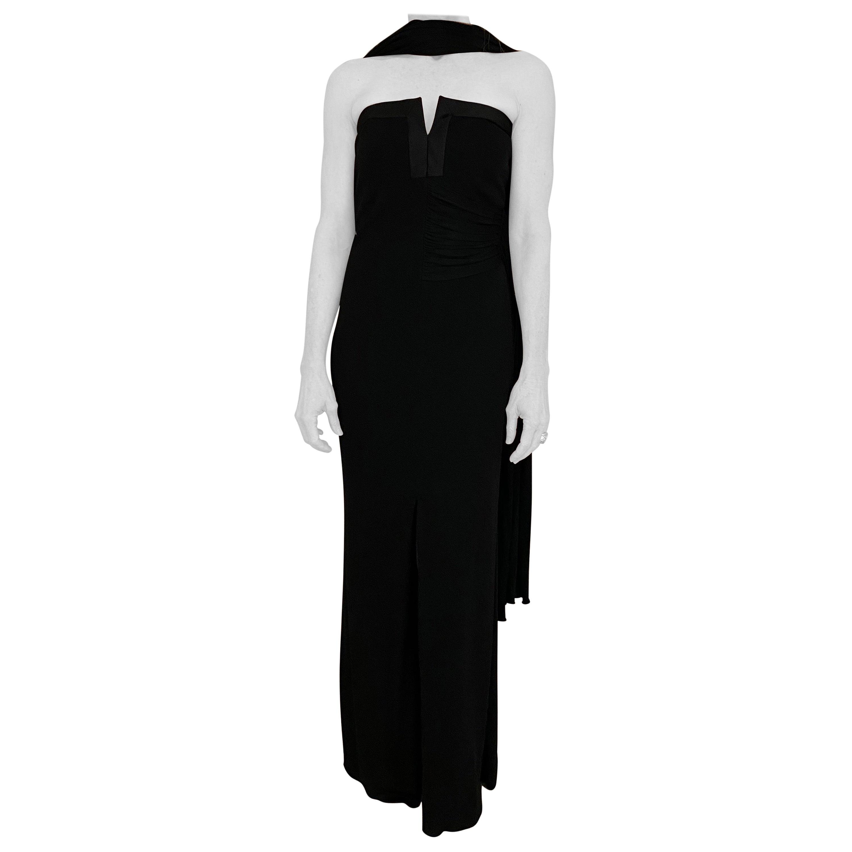 1990s Yves Saint Laurent Black Strapless Jersey Gown