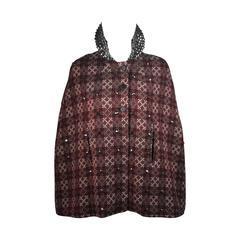 Vintage Red Green & Cream Plaid Wool Cape with Gunmetal Stud Applique