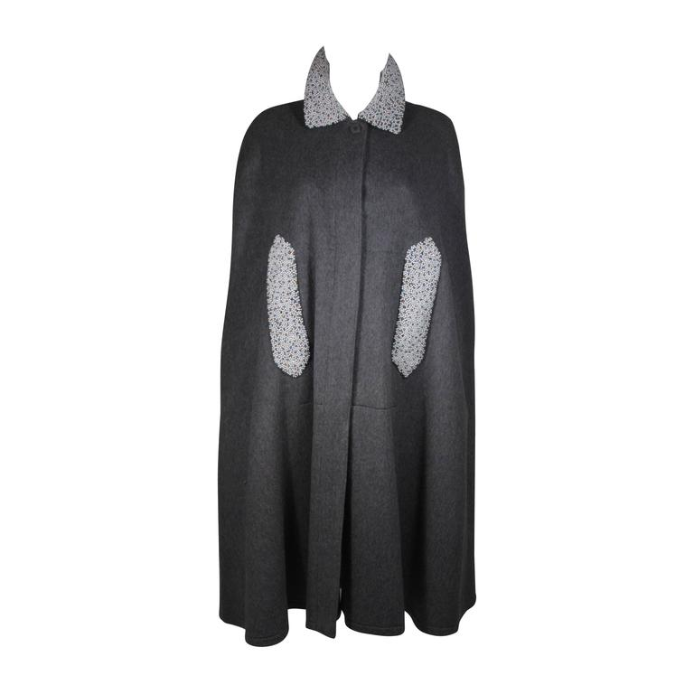 Vintage Grey Wool Cape with Pearl and Rhinestone Accents