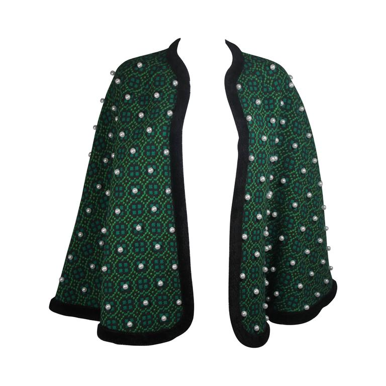 Vintage Green Wool Cape with Pearl Embellishments