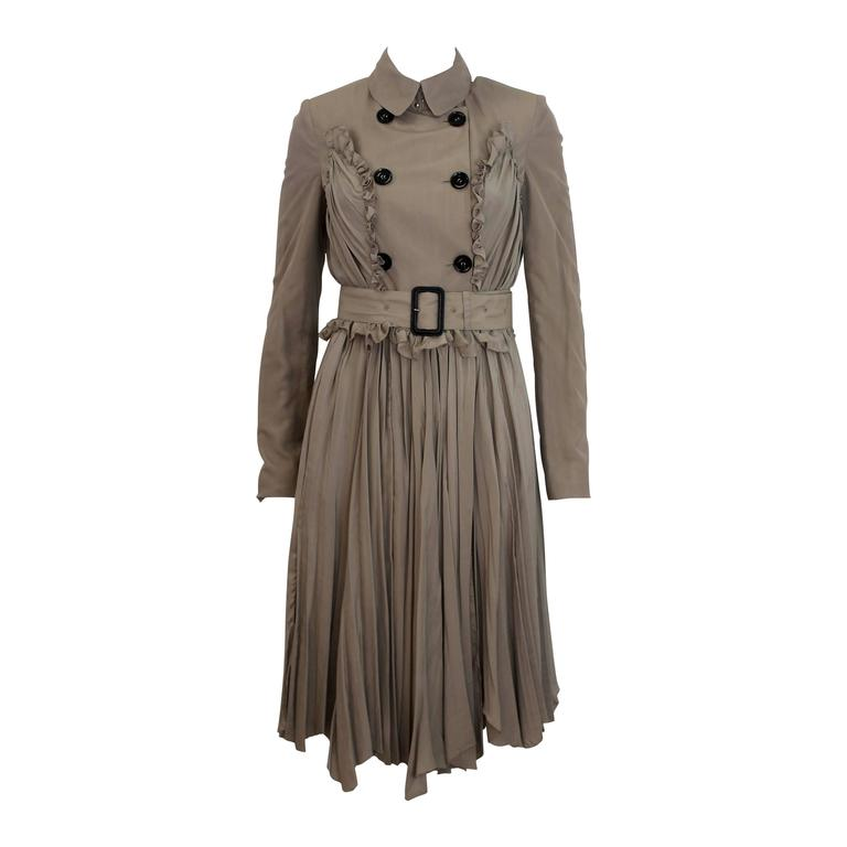 Burberry Prorsum 2010 Silk Coat-Dress with Full Pleated Skirt and Tulle Overlay 1