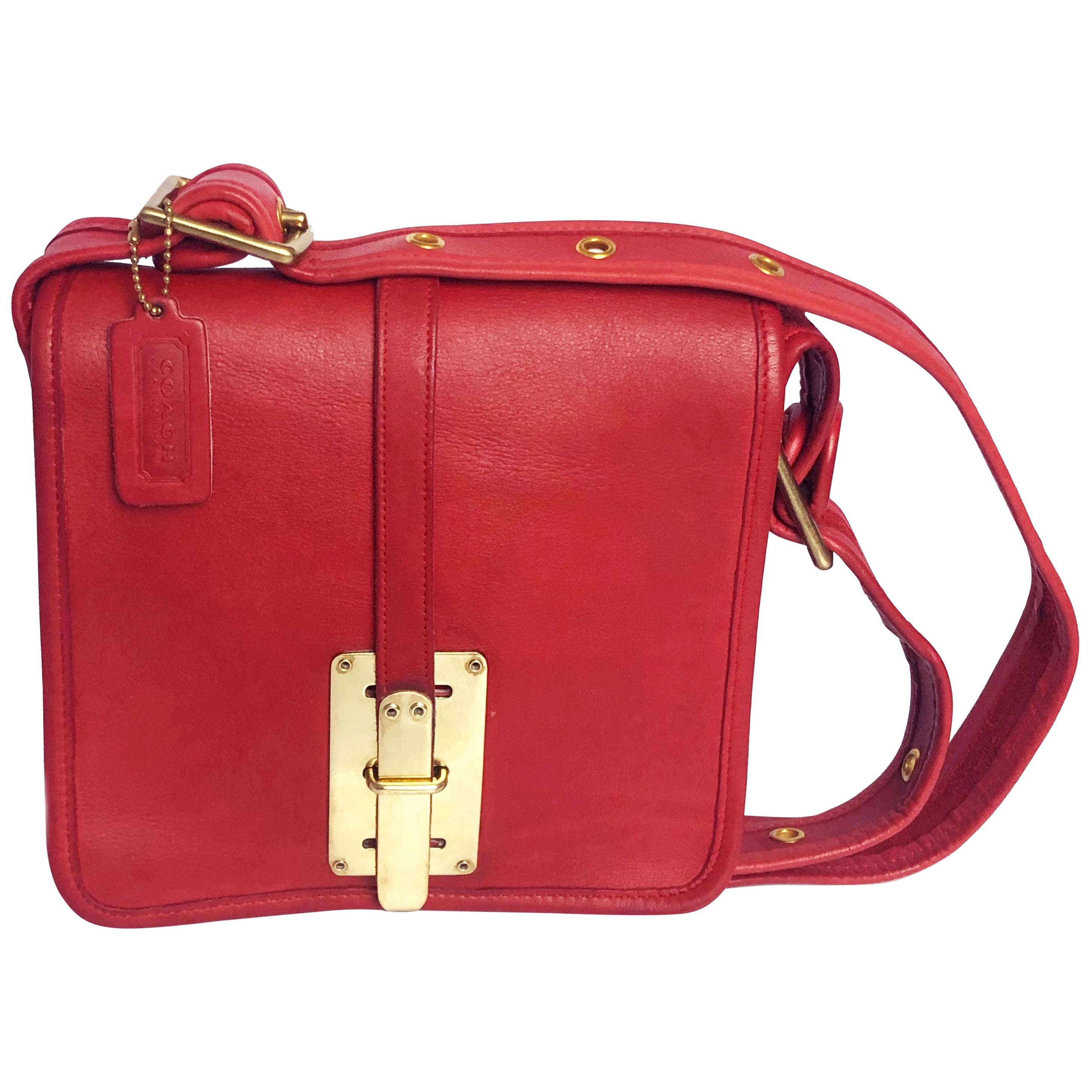 Bonnie Cashin for Coach Shoulder Bag with Hasp Lock Red Leather Vintage 70s Rare