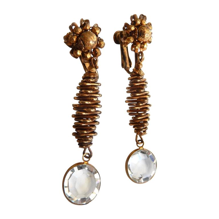 Vintage Miriam Haskell Clip Earrings with Crystal Drop For Sale