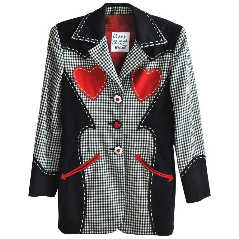 1990s Moschino Checkered Wool Jacket w/Double Red Hearts  1