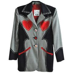 1990s Moschino Red Hearts Wool Jacket