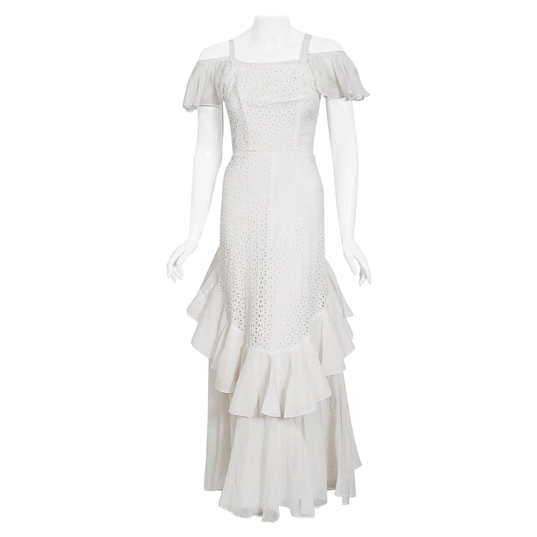 Vintage 1930's Crisp-White Eyelet Organza Off Shoulder Ruffle Bustle Bridal Gown