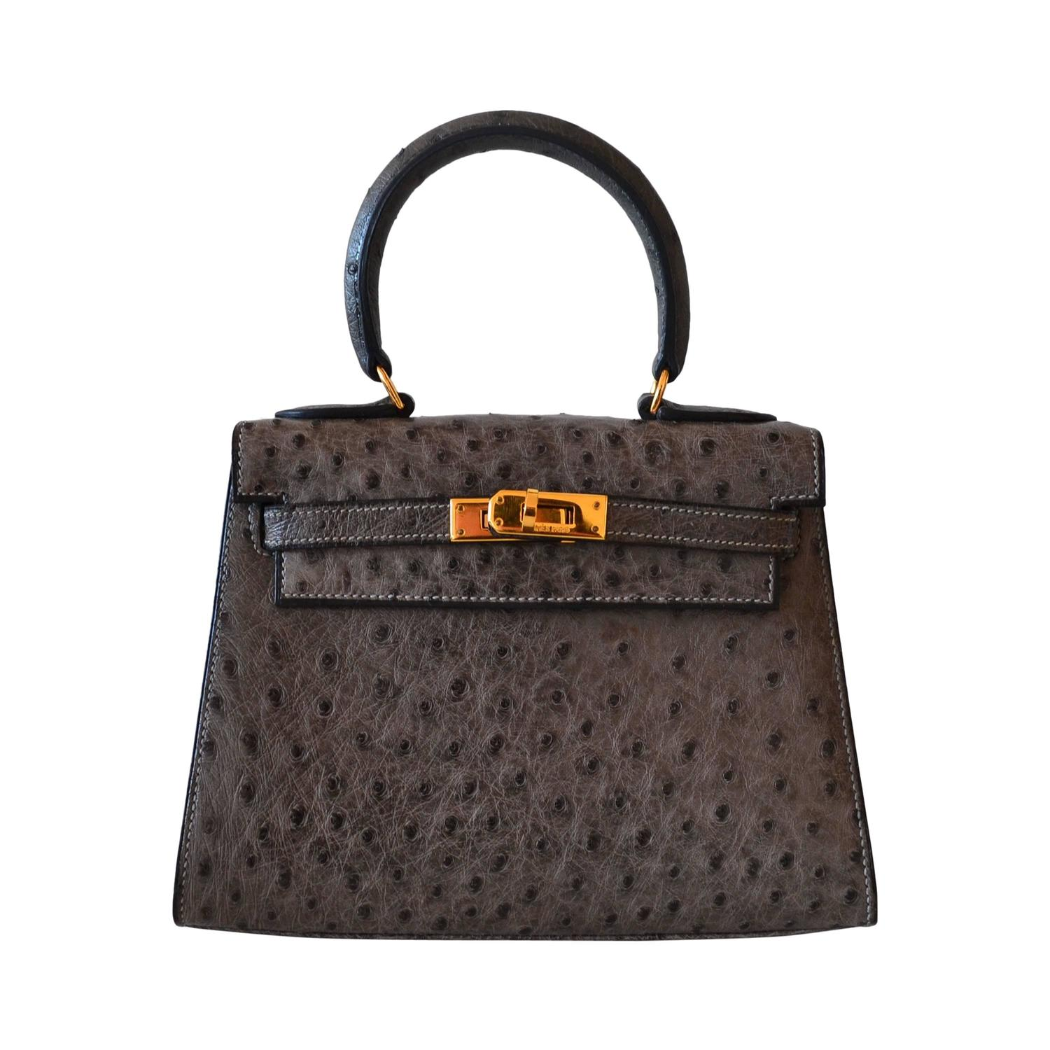 Hermès Kelly 20 Ostrich Sellier Anthracite at 1stdibs