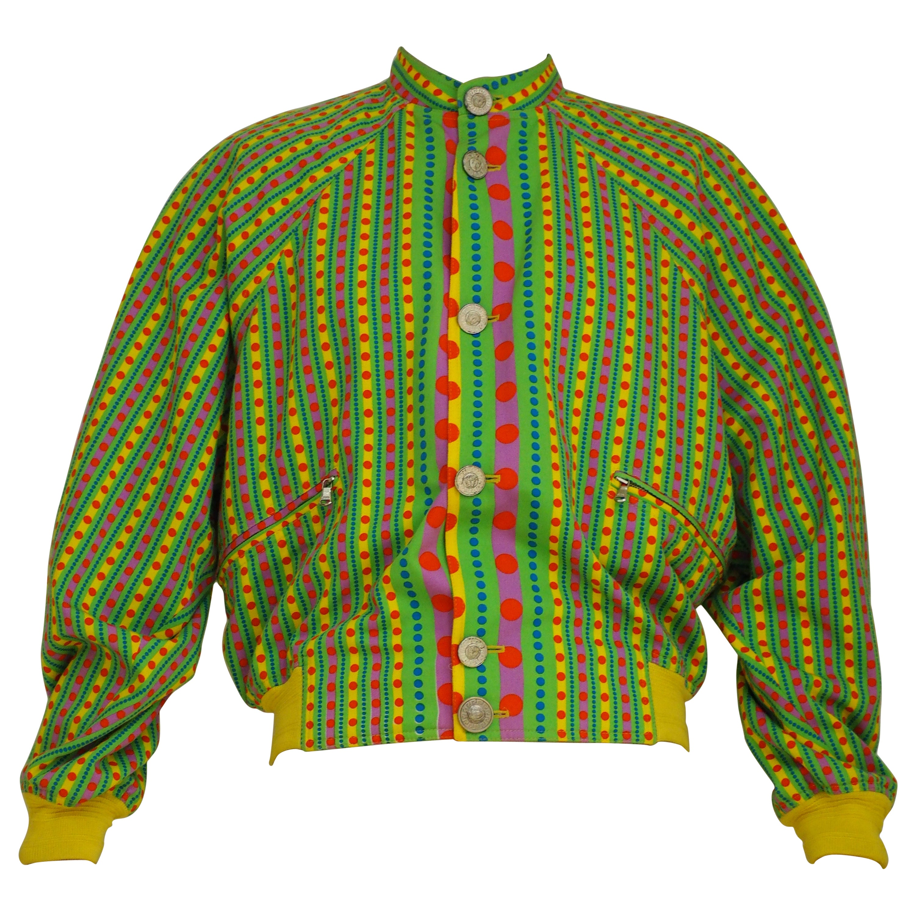 Gianni Versace yellow green fucsia  psychedelic bomber