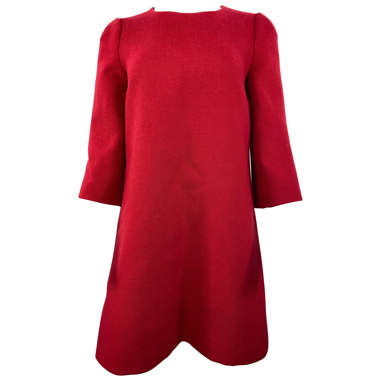 Dolce & Gabbana Red Wool Mini Dress Size 42