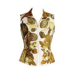 Hermes Vest Scarf Print Zip Front CitrouillIes Et Coloquintes 38 / 4