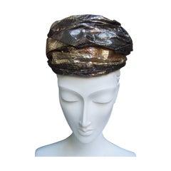 Avant Garde Metallic Snakeskin Turban c 1960