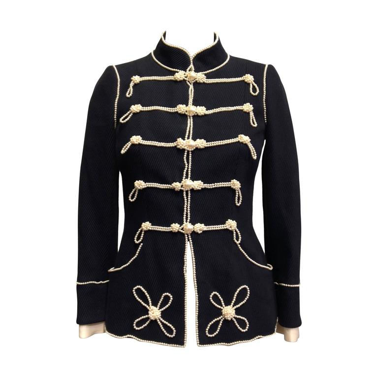Chanel Navy Majorette Jacket with Pearls For Sale