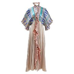 Exceptional Zandra Rhodes pleated silk evening coat c. 1972