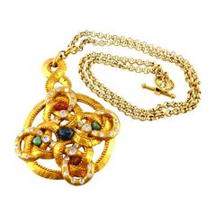 Claire Deve Vintage 90's Massive Jewelled Byzantine Inspired Pendant Necklace
