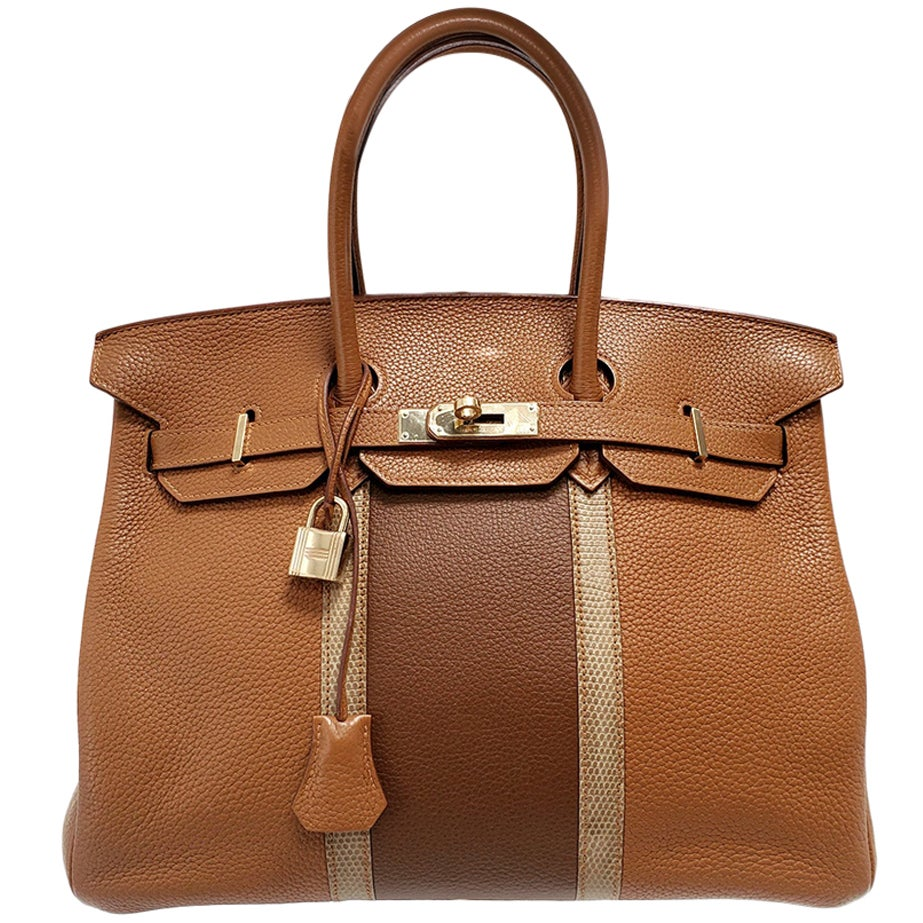 Hermes Birkin Club 35 Tri-Color Striped Hand Bag
