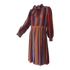 1970s Saint Laurent Silk Striped Day Dress w/ Foulard