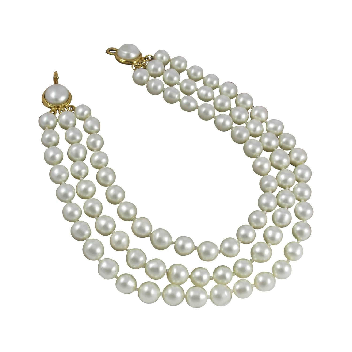 1970's Chanel Triple Strand Oversize Faux Pearl Necklace Choker At 1stdibs