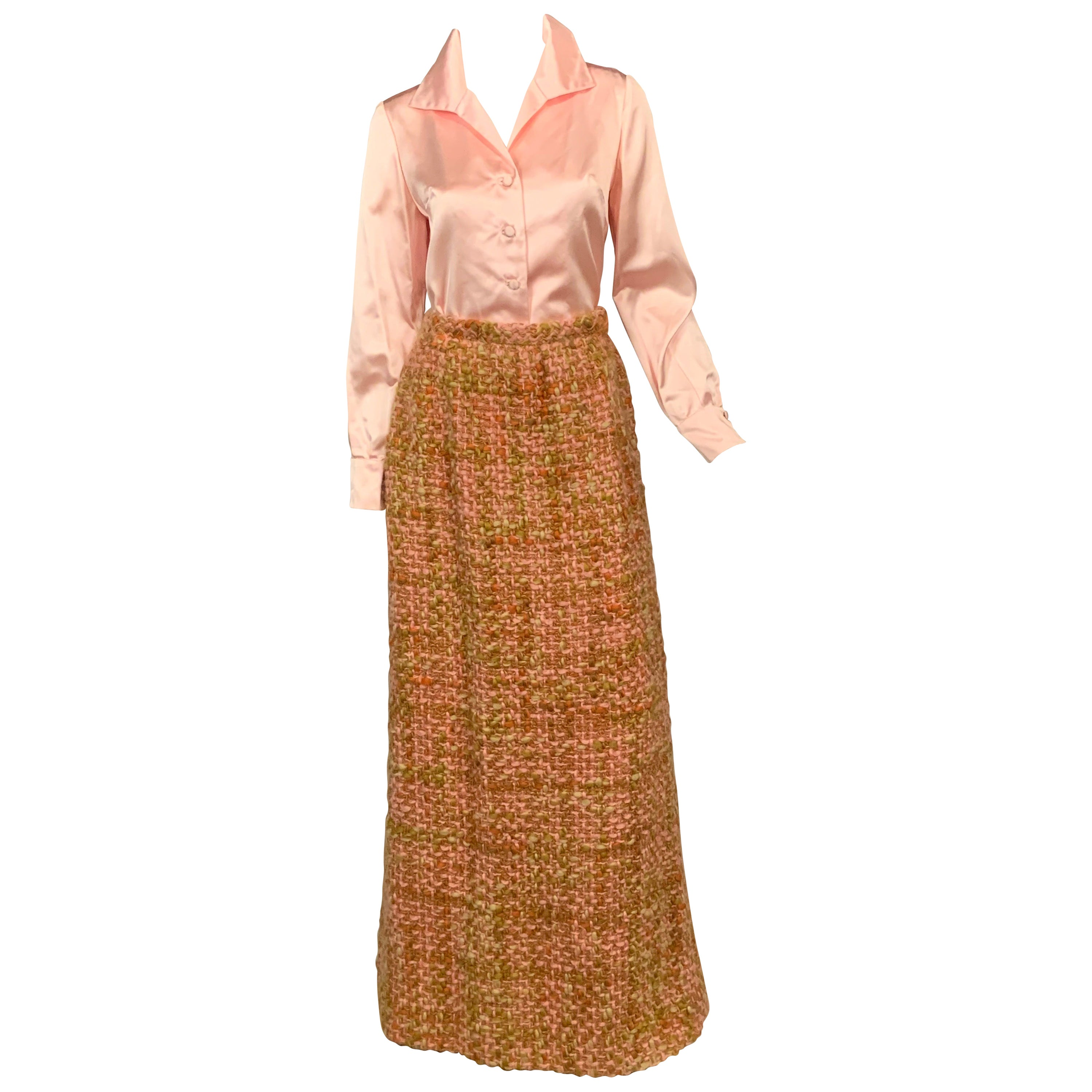 Sybil Connolly Couture Pink Silk Satin Blouse and Hand Loomed Irish Wool Skirt
