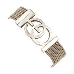 Vintage Gucci Sterling Silver Snake Chain Bracelet w/Interlocking GG Logo Clasp