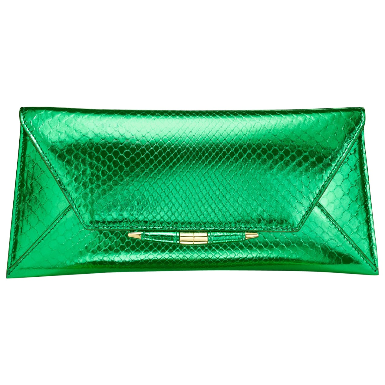 TYLER ELLIS Aimee Clutch Large Bright Green Python Gold Hardware