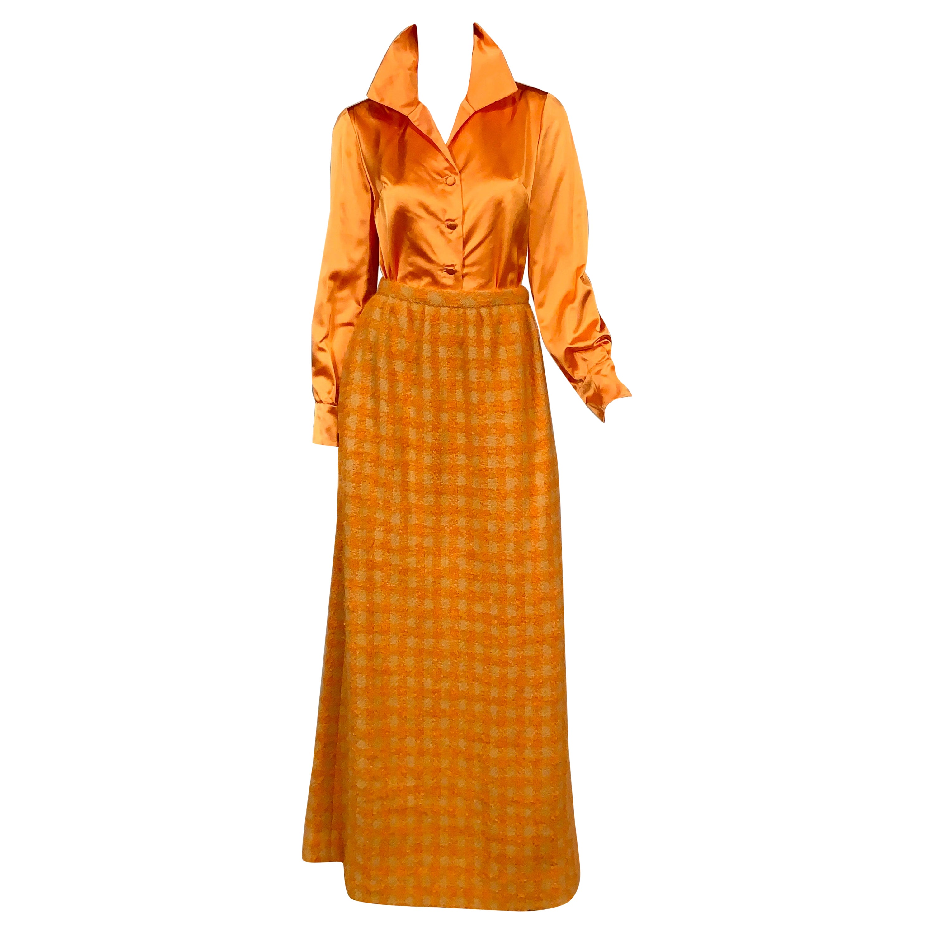 Sybil Connolly Haute Couture Silk Satin Blouse and Hand Loomed Irish Wool Skirt