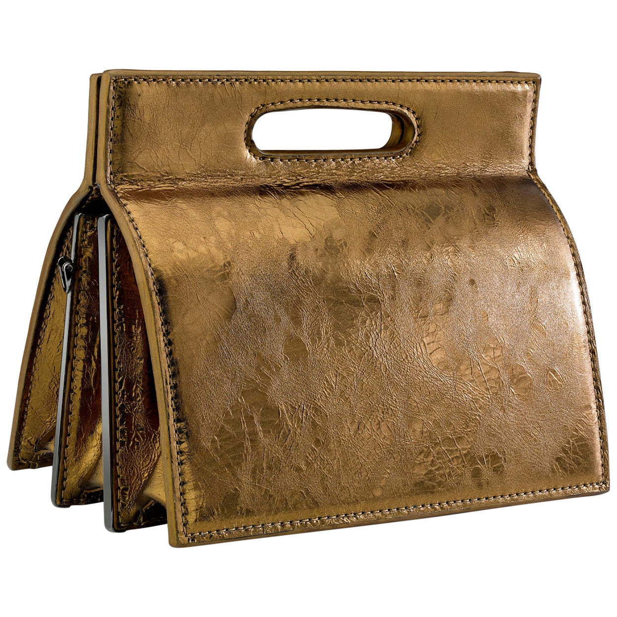TYLER ELLIS Stella Handbag Petite Bronze Antiqued Leather Gunmetal Hardware