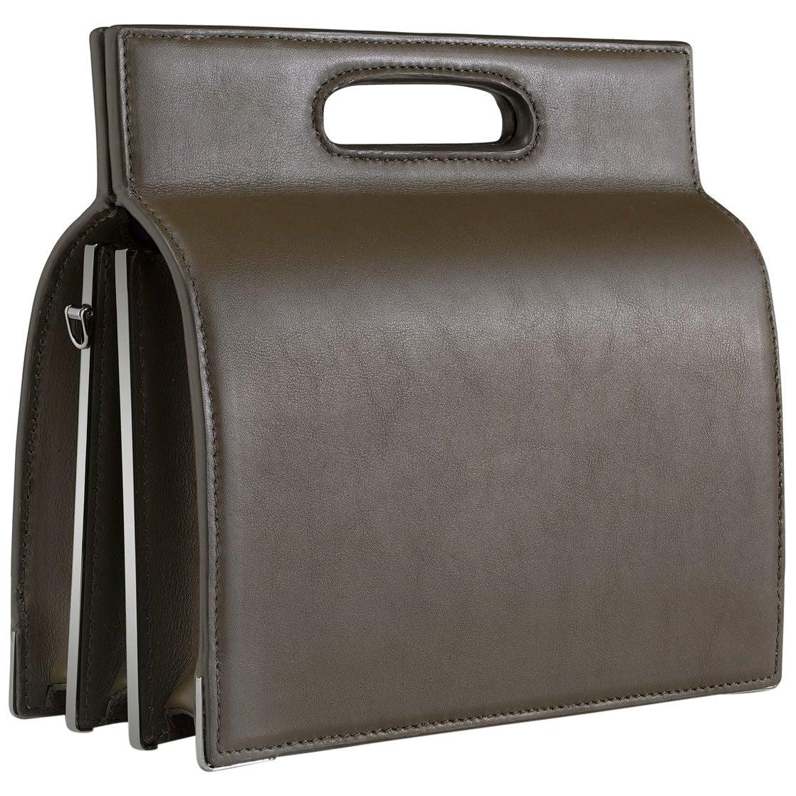 TYLER ELLIS Stella Handbag Tall Olive Green Leather Gunmetal Hardware