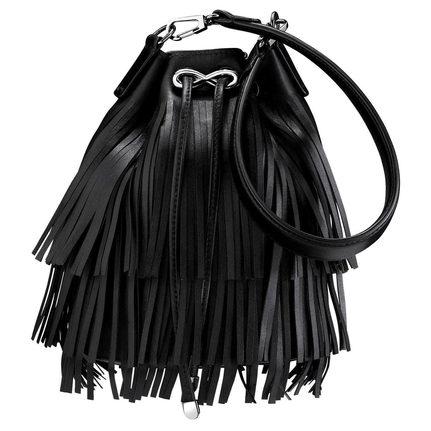 TYLER ELLIS Grace Bucket in Jet Black Leather Gunmetal Hardware