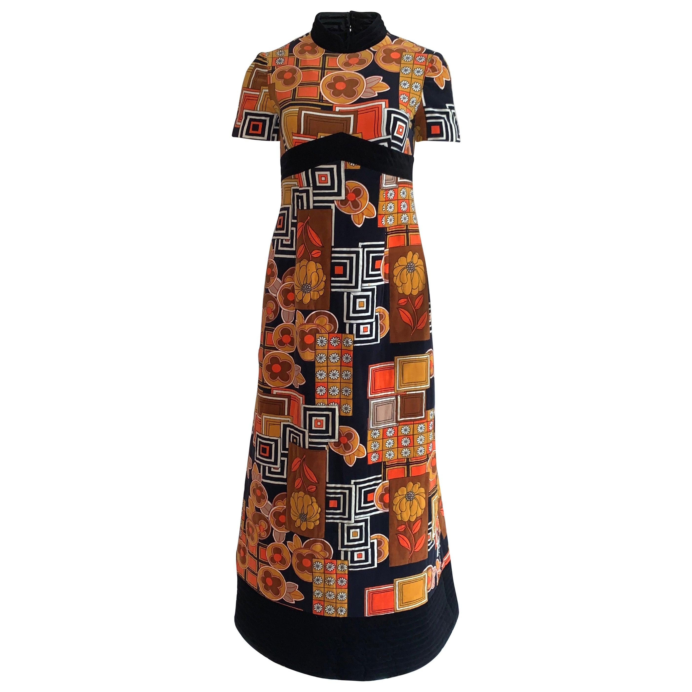 1960s Dynasty for I Magnin Floral Print Orange and Black Velvet Maxi Dress