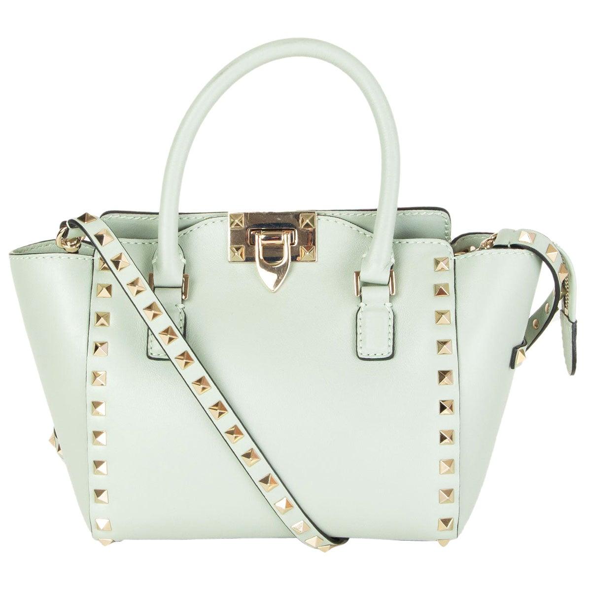 VALENTINO pastel green ROCKSTUD MINI DOUBLE HANDLE TOTE Bag