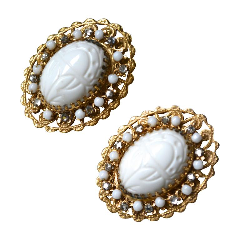 Stanley Hagler Scarab Earrings For Sale
