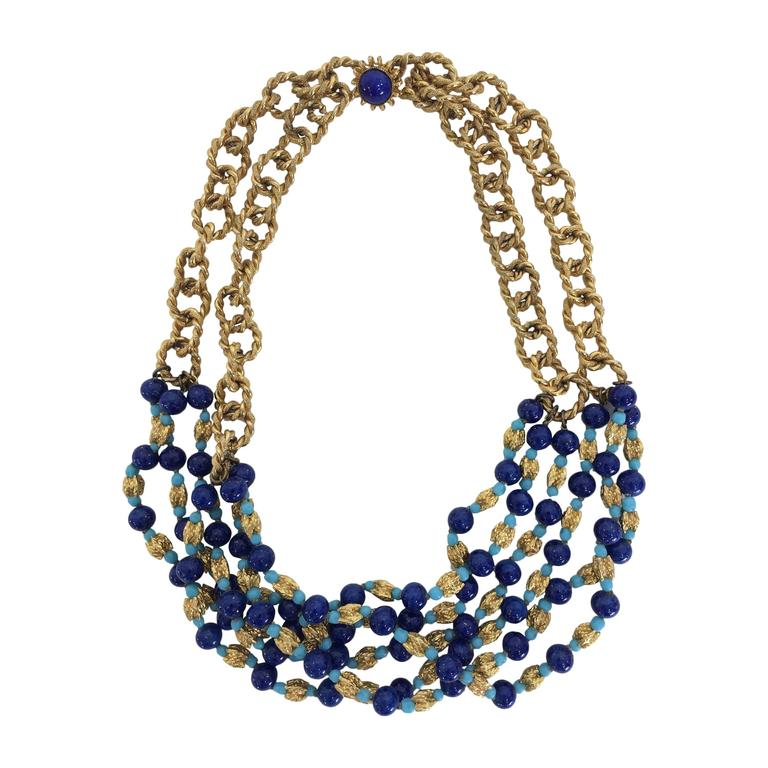 Vintage William Delillo azure blue & gold triple strand necklace 1960s For Sale