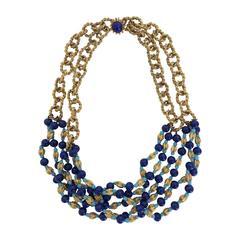 Vintage William Delillo azure blue & gold triple strand necklace 1960s