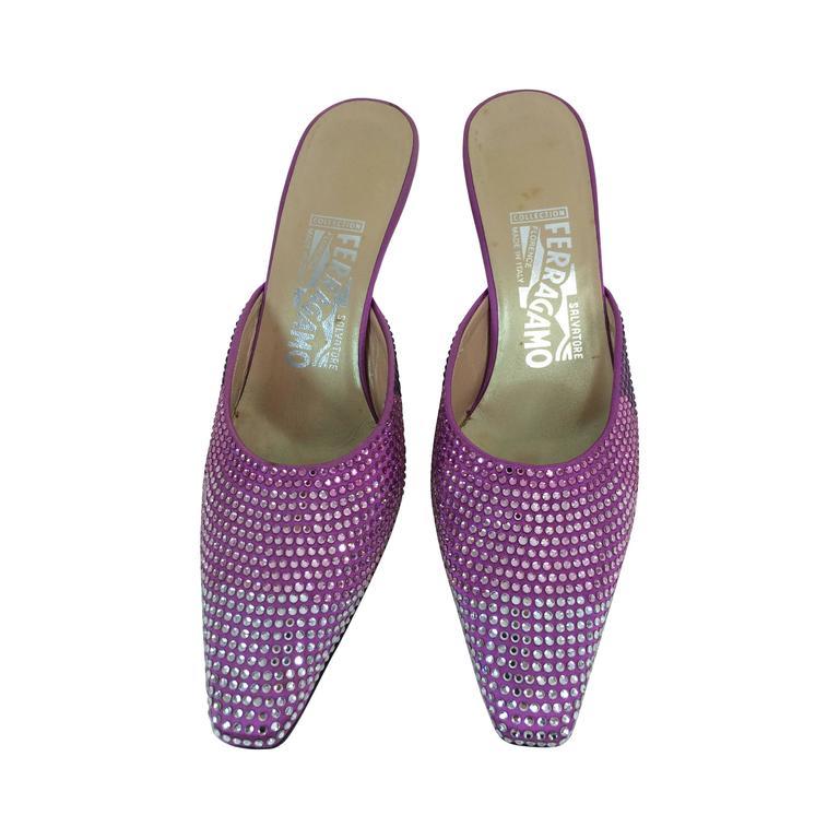Ferragamo hot pink satin & Swarovski crystal high heeled mules 7 For Sale