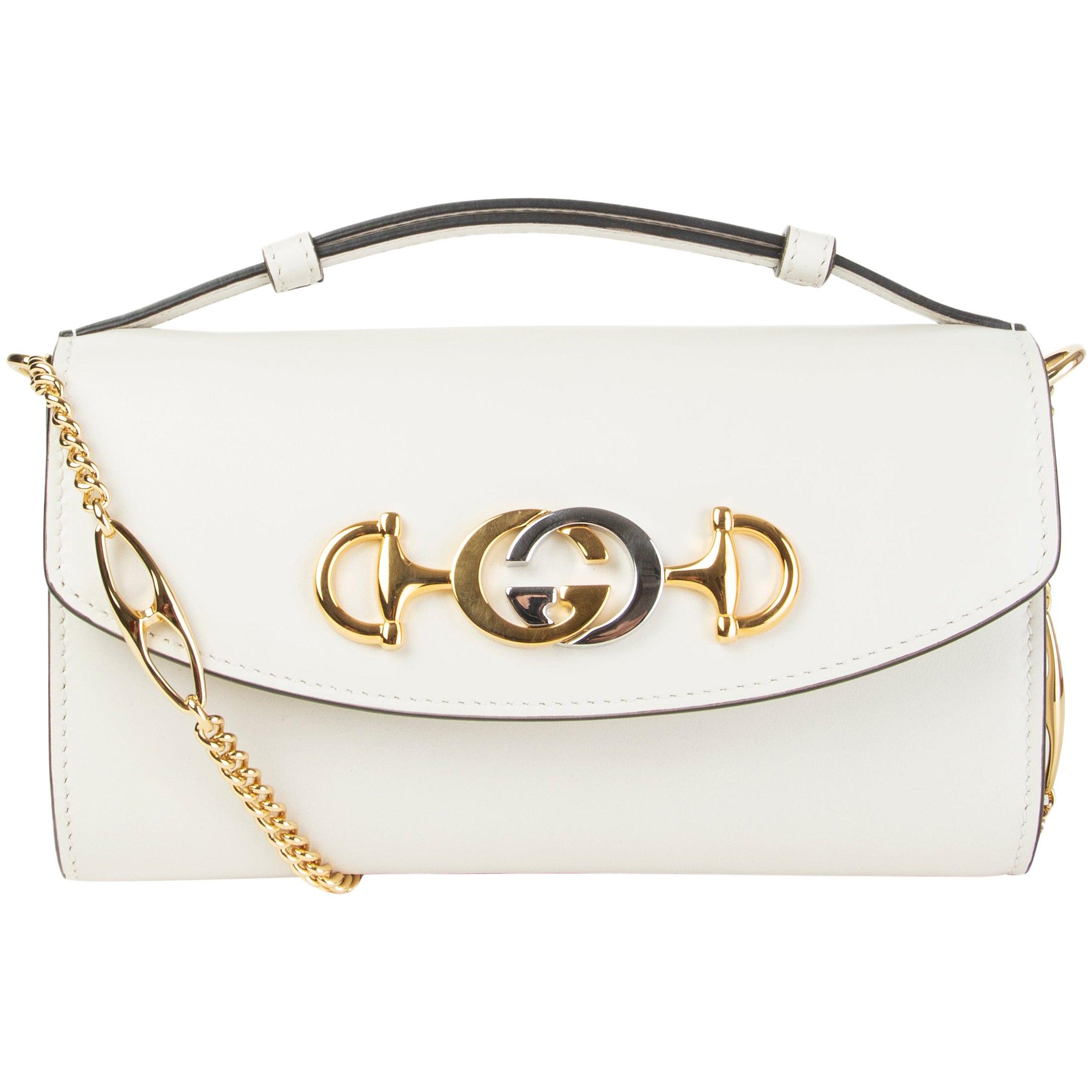 GUCCI white smooth leather ZUMI MINI Shoulder Bag