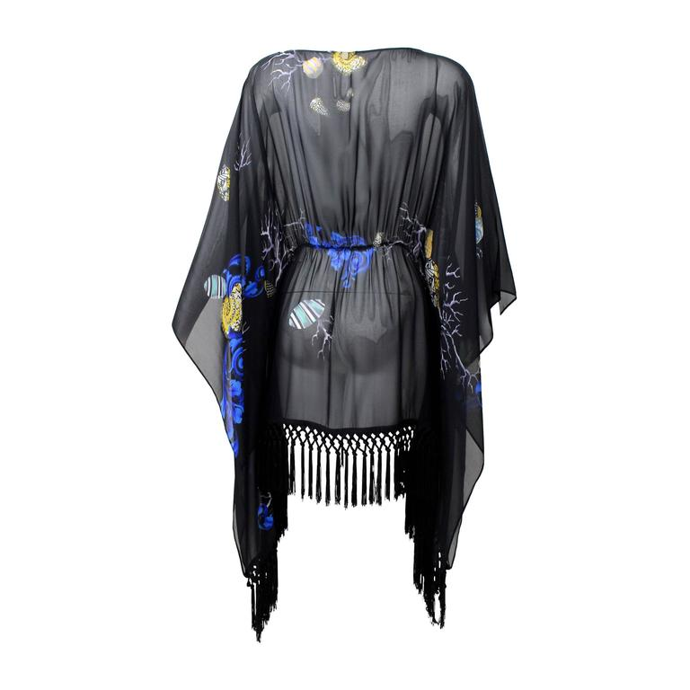 Versace  Black Silk Sheer Fringe Caftan Top with Sea Shell Print