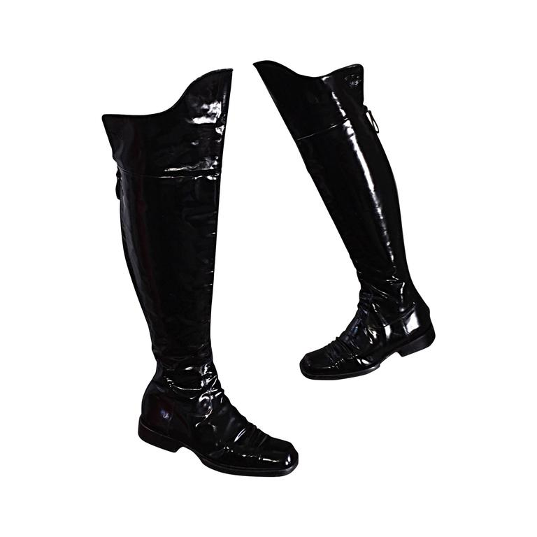 coveted chanel black patent leather the knee