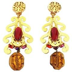 Massive Philippe Ferrandis Vintage 90s Gripoix Dangle Earrings Never worn