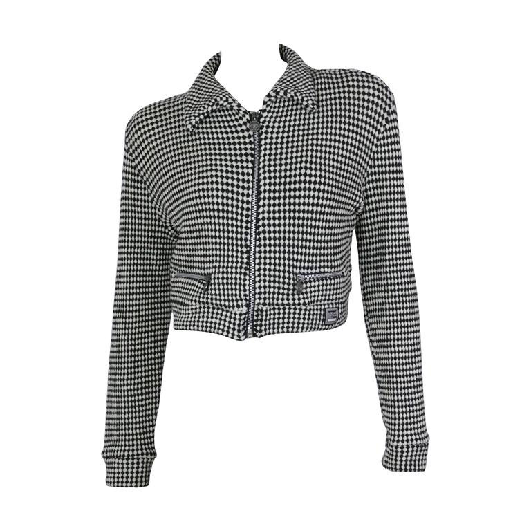 Gianni Versace Jeans Couture Vintage 90's Black & White Checkered Vest Jacket For Sale
