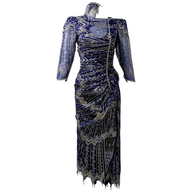 Vintage Zandra Rhodes Hand Painted Silk Dress, Pearl trimmed  Slip & Headpiece