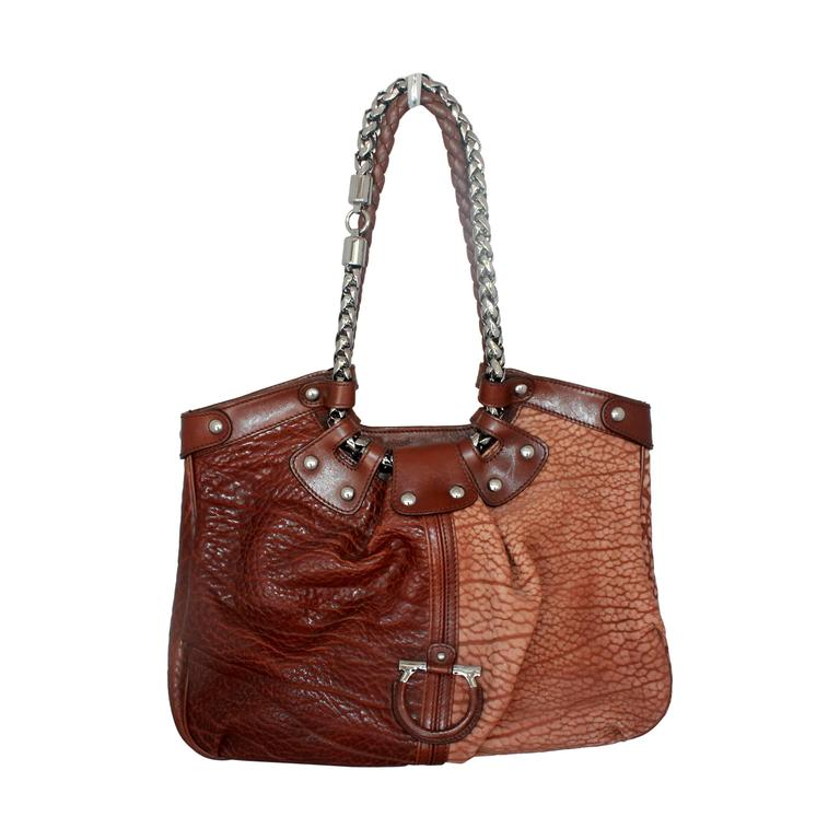 7fc3cbd747 Salvatore Ferragamo Two-Toned Brown Leather Should Bag - SHW For Sale