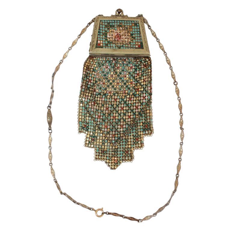 Whiting & Davis Art Deco Multi-Color Floral Mesh Bag  1