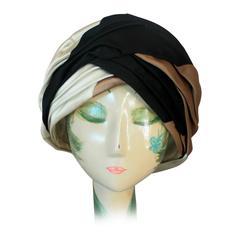 Christian Dior 1960's Vintage Black, Brown & Ivory Silk Turban Hat