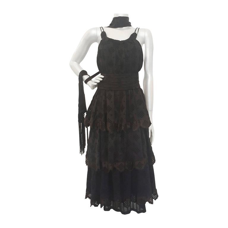 2000s Antonio Berardi black dress with fringes NWOT For Sale
