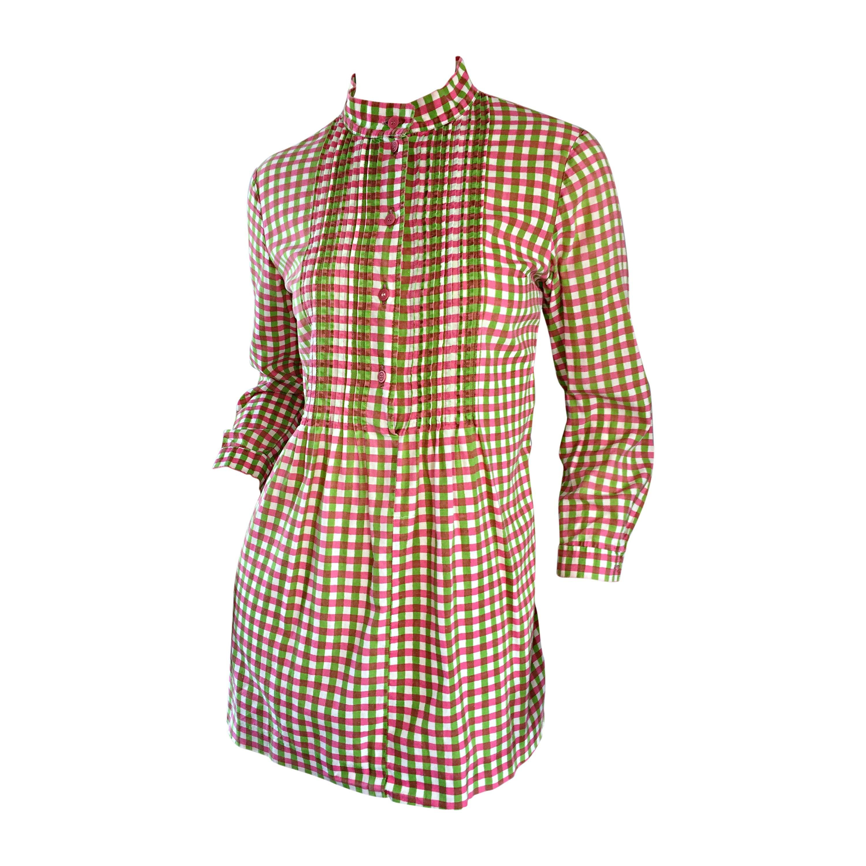 Vintage 1960s Marimekko of Finland 60s Pink and Green Checkered Tunic Mini Dress