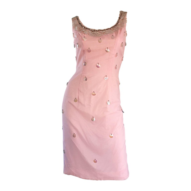 1960s Lilli Diamond Brand New Light Pink Silk Wiggle Dress w/ Paillettes + Beads For Sale