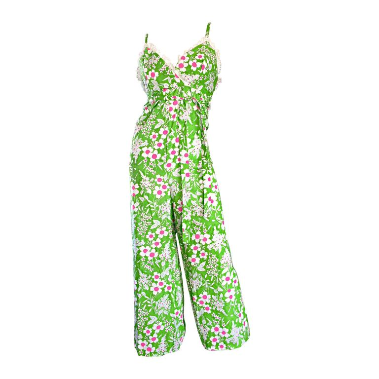 Amazing Vintage 1970s 70s Jumpsuit In Neon Green + Pink + White w/ Flowers Lace For Sale