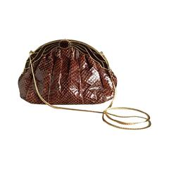 Vintage Finesse La Model Chocolate Brown Python Snakeskin Convertible Clutch Bag