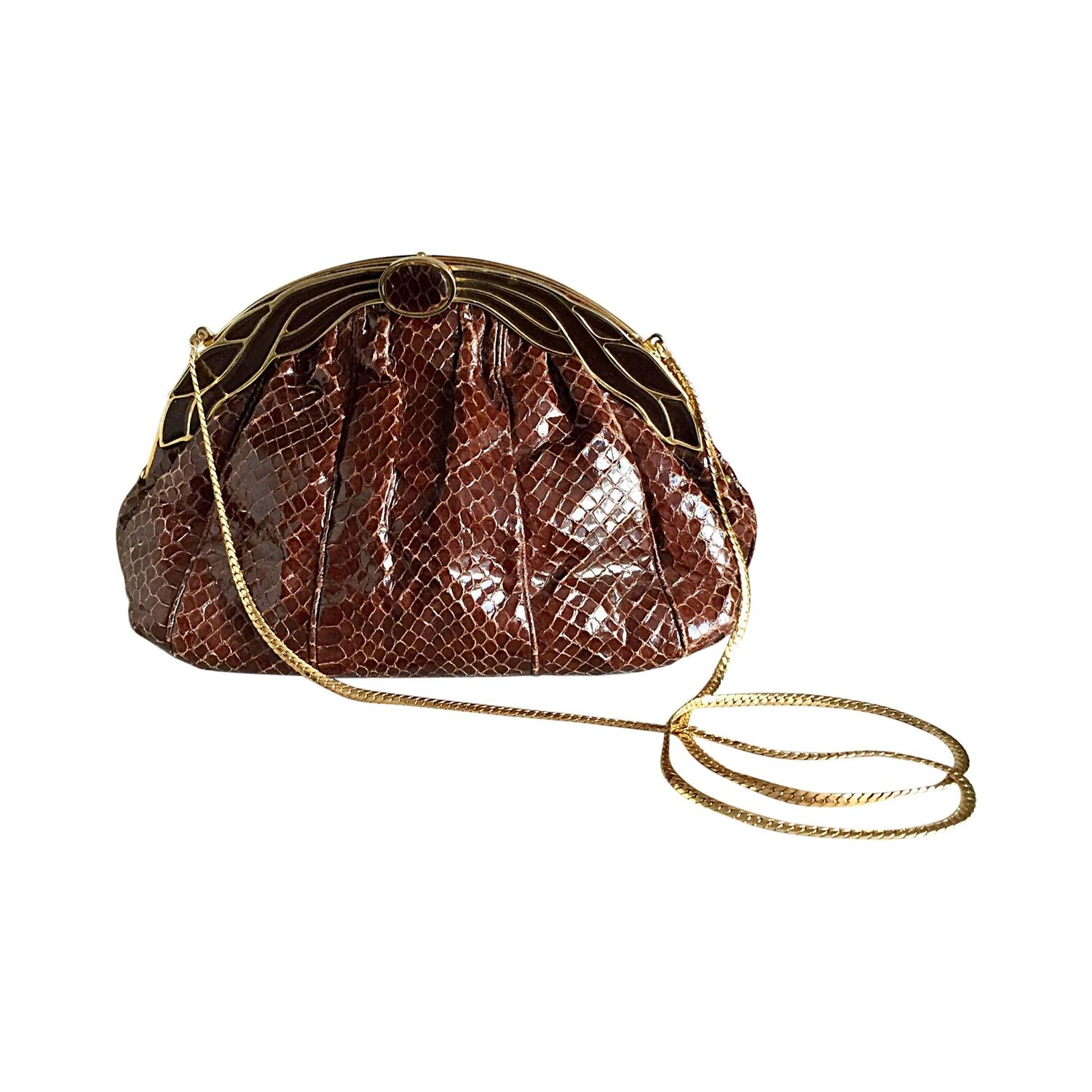 customers first select for original how to orders Vintage Finesse La Model Chocolate Brown Python Snakeskin Convertible  Clutch Bag